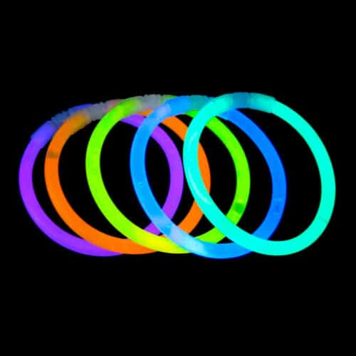 Glowsticks bracelets 100 pcs. tube, 100 assorted glowsticks, knæklys armbånd